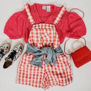 Gingham plaid overalls shorts medium red white